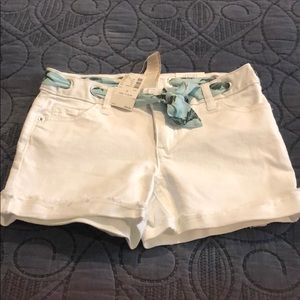 NWT 12Slim Girls White Denim Shorts